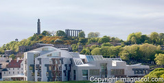 scottish parliament 01 (imagescotdotcom) Tags: devolved government politics holyrood edinburgh calton hill parthenon replica nelson monument panorama may spring lothians midlothian central belt scotland scottish parliament