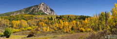 Marcellina Mountain, Autumn Ranchland (James L. Snyder) Tags: ranch autumn trees panorama usa foothills mountain green fall texture colors grass leaves yellow horizontal wall rural forest fence gold one golden colorado colorful glow afternoon native country rich gray peak sunny bluesky somerset cliffs september hills foliage clear ridge pines lone aspens glowing rockymountains rough lush deciduous solitary monolith bushes shrubs slope rolling rugged precipice textured steep towering luxuriant lofty monumental quaking sidelighting grandeur deadgrass therockies 2011 ranchland populustremuloides gunnisoncounty westelkmountains marcellinamountain gunnisonriverbasin northforkdistrict