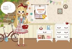 Cherry Season (jrpinky_boi) Tags: blue red white bicycle poupee cherryearrings cherrynecklace bandanaribbon straightlongwig fruitycrape cherrygingerhamdress cherrygingerhampumps cuffsleevedungaree strawtotebagwithpurse