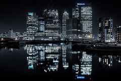 Where the money flows (murphyz) Tags: city uk longexposure money reflection london water night buildings dark flow lights district capital cash canarywharf financial banking wealth londonist