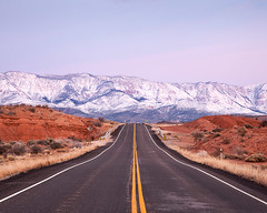 Pine Valley Mountains (Chicken) Tags: road morning travel winter red usa snow mountains yellow rock dawn early utah highway unitedstates horizon roadtrip line transportation getty roadtripping laverkin pinevalleymountains