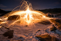 Sparks II (Richard Larssen) Tags: winter ice wool nature norway night stars landscape evening norge long exposure shot steel sony richard scandinavia sparks rogaland eigersund 1018mm larssen emount nex6
