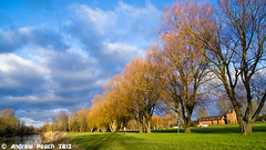 Seasons. (peachyboii) Tags: trees sky sun colour green clouds contrast river landscape sony clarity alpha slt lightroom a55 sonyphotographing