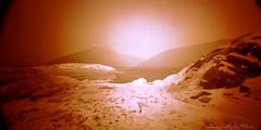 Winter white wide views in redscale (ShimmeringGrains) Tags: winter snow film ice analog mediumformat landscape is vinter pinhole 120film scanned snö scannad c41 mellanformat holga120wpc lomographyredscale100 c41homeprocessed c41diy shimmeringgrains rimbojord