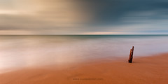 Its a big world out there (Louise Denton) Tags: wood longexposure blue sunset sky orange yellow clouds photoshop soft nt australia darwin driftwood casuarinabeach northernterritoy louisedenton