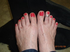 February 6 - Fabulous Feet (cjacobs53) Tags: red feet foot toe nail polish ring sherry jacobs toering sher jacobsusa 365orless 2013picture