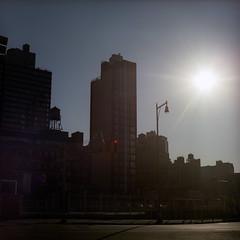 sunset (naprisi) Tags: city nyc urban ny newyork man streets 6x6 film brooklyn analog mediumformat square kodak manhattan mf pentacon portra urbanity pentaconsixtl mittelformat
