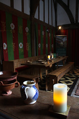 Barley Hall: view from on High (Sarah Ross photography) Tags: york red history tile table hall candle tudor dininghall jug recreation reenactment hightable barleyhall sarahr89 sarahrossphotography
