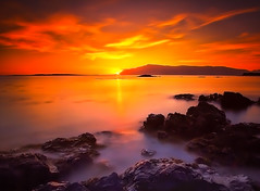 Dreamy Sunset ..# 7 Explore (Gulli Vals) Tags: longexposure sunset red sea orange hot cold water stone iceland lee kjalarnes
