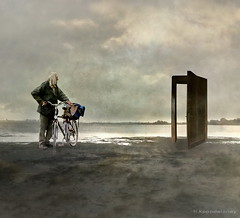 The Magic Door (h.koppdelaney) Tags: cyclist bicycle beach door open old man sea magic free mist fog path quest harmony awareness view stillness symbol life archetype psyche psychology philosophy metaphor art digital photoshop symbolism picture koppdelaney freedom yinandyang freedomandorder everythinginitsowntime particulars