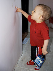 DBP014 (danababy1076) Tags: boy red wall painting kid child paintbrush inspect
