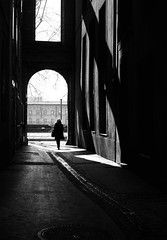 Unknown woman. ( Paul Blanchard ) Tags: door old winter light sky blackandwhite dog streets bench dawn twilight hands noiretblanc decay coucher streetphotography depthoffield ciel contraste toulouse canon50mmf18 nuages couleur orage 2013 5dmarkii