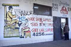 Shoe Shine Supplies (susan catherine) Tags: losangeles mural broadway kiwi tagging latimes x100