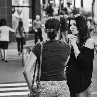 chatting on street