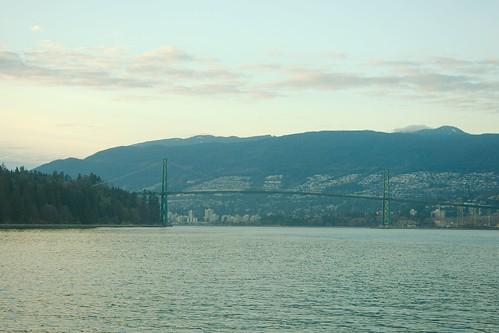 Lions Gate bridge at twilight