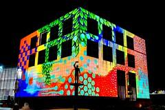 Many Faces of Questacon (evangelique) Tags: light color colour building festival museum architecture march amazing colorful australia science canberra colourful act projections enlighten questacon 2013