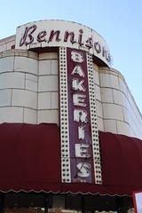 Bennison's Bakery (Flint Foto Factory) Tags: camera city november autumn urban fall classic sign bulb vintage awning illinois midwest downtown neon letters storefront evanston terra cotta 1000 2010 mapleave davisst sooc straightoutof