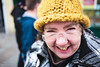 Preacher (Roj) Tags: city uk england people woman hat yellow manchester glasses streetphotography persons knitted stpatricksday canon5dmkii welshot canonef40mmf28stm