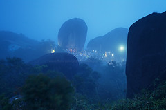 The Holy Mountain in the Mist. (baddoguy) Tags: travel mist mountain tourism fog thailand evening tour buddhist buddhism landmark images holy journey sacred summit getty gettyimages chanthaburi buddhafootprint kitchakut kitchakood gettyimagesstock