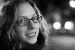 Michelle (b'jesus) Tags: sanfrancisco portrait blackandwhite girl monochrome night 50mm glasses nikon bokeh f14 japantown d800 nihonmachi