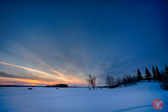 The hour of blue.. (Kasia Sokulska (KasiaBasic)) Tags: winter sunset lake snow canada nature beauty nationalpark alberta elkisland astotin
