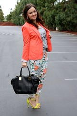 Floral & Coral (triplyksis) Tags: floral fashion yellow coral grey outfit neon tank sandals gap style jeans target wardrobe blazer printed tote asos fashionstyle dailyoutfit cottonon rachelzoe prabalgurung