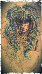 A dark lady with blue hair... (Ruth Joyce Illustration) Tags: blue portrait sketch drawing mysterious bluehair emogirl scenegirl girlillustration flickrandroidapp:filter=none