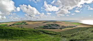 Nature, sea, house and clouds seen from Cap Blanc-Nez, France