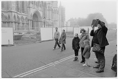 ipad line up (jj birder) Tags: york blackandwhite bw film fog 35mm yorkshire contax minster aria