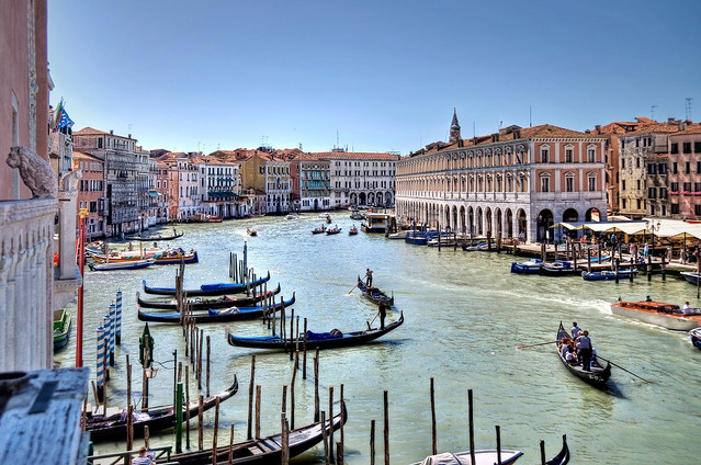 Gondolas and palazzos on the Grand Canal in Venice