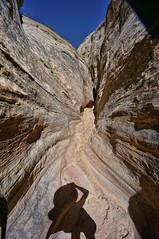 slot canyon shadow selfie (rovingmagpie) Tags: utah capitolreefnationalpark capitolreef pleasantcreek slotcanyon shadow selfie canyon 8mm ctg2016 summer2016