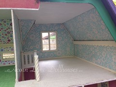 IMG_0407 (AcornLaneDollhouses) Tags: westville greenleaf dollhouse handcrafted finished interior wallpaper carpeted custom trim