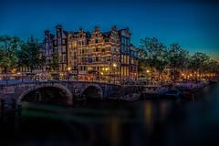 Amsterdam Canal (Explored 10-9-2016) (mcalma68) Tags: amsterdam architecture canals cityscape night longexposure