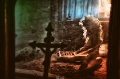 Christ Illusion (Szydlak Szk) Tags: abandoned derelict forgotten old desolate vintage obsolete nostalgia nostalgic cross jesus christ mirror reflection creepy weird doll toy eerie spooky dreamy nightmare alone lonely loneliness bedroom illusion szydlak urbex urban exploration lalka