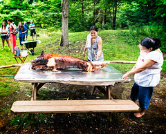 Feast! (agladshtein) Tags: rural ithaca newyork ny tompkinscounty dusk evening pork pig picnic summer sonya7r2 zeissbatis25mmf2 cookout friends meat meal cut spit freeville