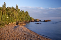 sawpit bay golden hour (twurdemann) Tags: algoma beach canada cottrellcove fujixt1 goldenhour highway17 hoyandx8 lakesuperior landscape nature neutraldensityfilter northernontario ontario sawpitbay scenic seascape shoreline stonebeach summer sunset water