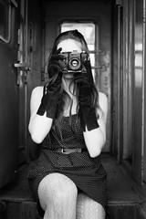Shooter on Rails (Ash and Debris) Tags: photo bnw dress shoot shooting beauty bw girl photographer monochrome retro train camera young railway photocam railroad blackandwhite