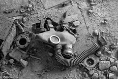 Gas mask in black and white (Dave and Jodi Piddington) Tags: chernobyl ukraine holiday decay abandonedbuildings death history nucleardisaster accident travel dark tourism darktourism photography architecture nuclear disasters adventure kiev blackandwhite