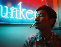 In The Corner (OzGFK) Tags: asia singapore joochiat street streetphotography people portrait night neon film analog mediumformat 645 pentax smoking cigarette