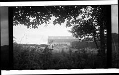 MAERSK [Olympus Trip 35] (Mr B's Photography) Tags: container shipping field tree 35mm film agfavista crossprocessing olympustrip35 paranol s