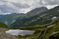 Lago del Toro e Monte Tagliaferro. (Marco MCMLXXVI) Tags: valsesia piemonte rima sangiuseppe monte tagliaferro lago toro valsermenza sermenza alps alpi mountain mountagna alpine lake water outdoor landscape clouds nuvole summer estate hiking travel tourism escursionismo nikon d3200 cliff rock view vista panorama europe italy