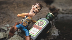Woody's Ethylic Love Story - 6/8 (Reiterlied) Tags: 105mm alcohol alcoholism bergen d5200 dslr jagermeister lens macro nikon norway photography prime reiterlied sigma stuckinplastic toy toystory woody