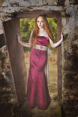 the door stop (BarryKelly) Tags: red woman girl dress door satin white broken silk long green ruin rural setting