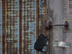 Locked out? (paulstewart991) Tags: canon70d canadian country antiques rusted hardware barnboard webwoodfalls old oldbuilding rustic wooden doors steel texture