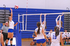 IMG_5462 (SJH Foto) Tags: net battle spike block action shot jump midair girls volleyball high school lancaster mennonite pa pennsylvania team tween teen teenager varsity