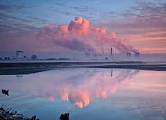 Pink Plumes (Ian Murren) Tags: pink winter mist clouds sunrise canon steam powerplant pinksky atmospheric saltmarsh damp merseyside widnes coolingtowers fiddlersferry rivermersey dullweather lowmist fogandmist wwwianmurrencouk ianmurren