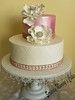 Fantasy Flower Wedding Cake 2 (Scrummy Mummy's Cakes) Tags: white weddingcake twotier fantasyflower pearlpink jeweltrim
