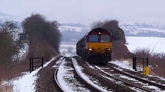 The Stokesay Shiver (Jim the Joker) Tags: snow train railway freight dbs stokesay class66 ews 66088 dbschenker 6v75
