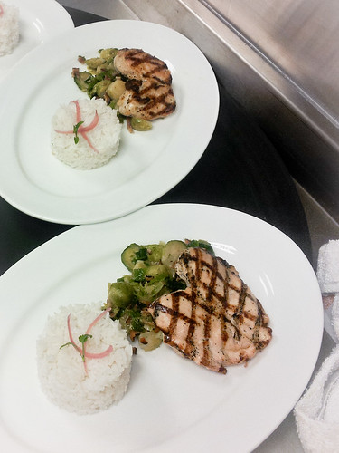Marinated Grilled Chicken Breast - Brussels Sprouts Tossed in Pecan Wood Smoked Bacon - Jasmine Rice