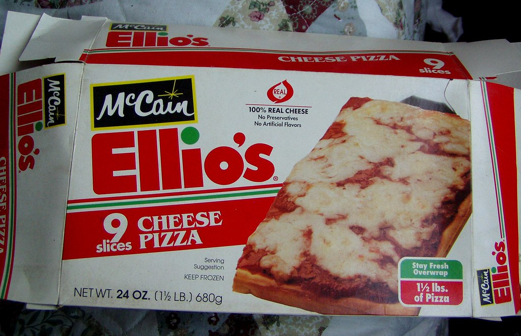 1995 McCain Ellios Frozen Pizza Box Mankatt Tags Food Cheese Vintage Graphics Junk
